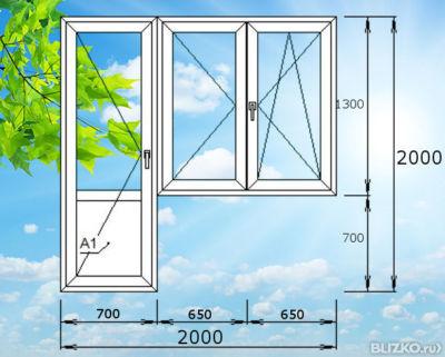 Дверь поворотная с распашным окном пластиковая, балконная, 2.