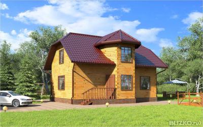 Четырехэтажный домиз бруса 7 х 8 м с эркером в городе бийск.